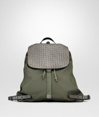 BACKPACK IN DARK SERGEANT TECHNICAL CANVAS AND NEW LIGHT GREY INTRECCIATO CALF