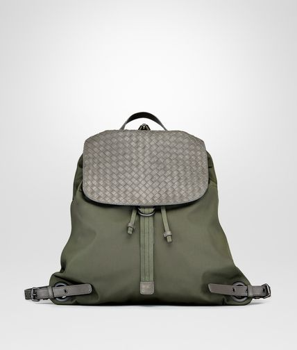 BACKPACK IN DARK SERGEANT TECHNICAL CANVAS AND NEW LIGHT GRAY INTRECCIATO CALF