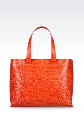 Armani Shoppers Women unlined charnière dorée in croc print calfskin