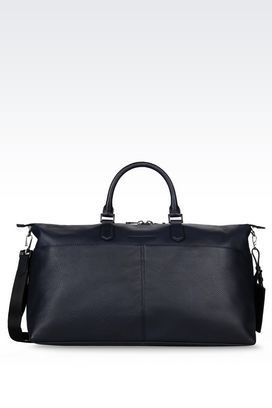 Armani Weekender bags Men holdall in grained calfskin