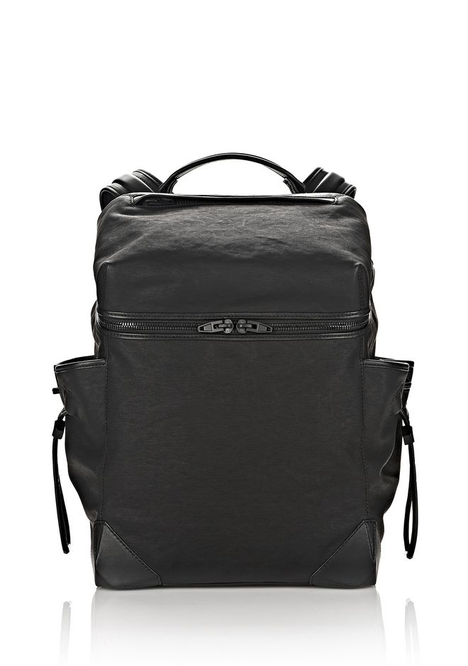 ALEXANDER WANG new-arrivals-bags-man SMALL WALLIE BACKPACK IN RUBBERIZED CANVAS WITH MATTE BLACK