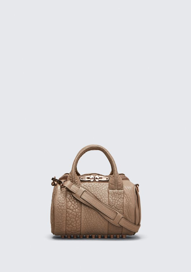 ALEXANDER WANG Shoulder bags Women MINI ROCKIE IN PEBBLED LATTE WITH ROSE GOLD