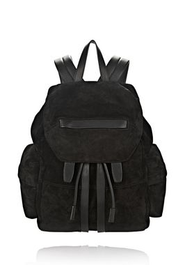 MARTI BACKPACK IN BLACK SUEDE WITH MATTE BLACK