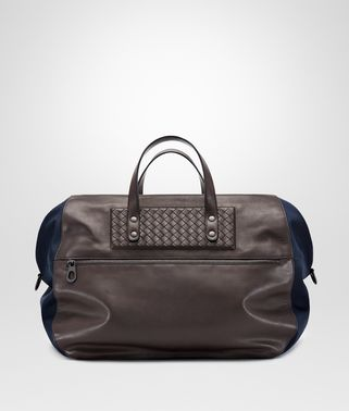 DUFFEL BAG IN TOURMALINE TECHNICAL CANVAS AND ESPRESSO INTRECCIATO CALF