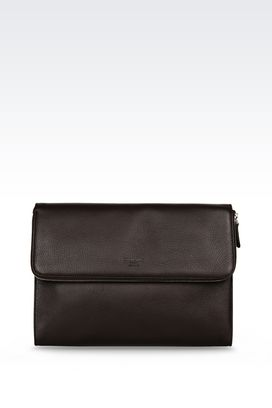 Armani Top handles Men document holder in deerskin