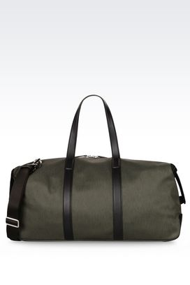 Armani Weekender bags Men holdall in nylon and leather