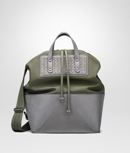 TOTE BAG IN DARK SERGEANT TECHNICAL CANVAS AND NEW LIGHT GREY INTRECCIATO CALF