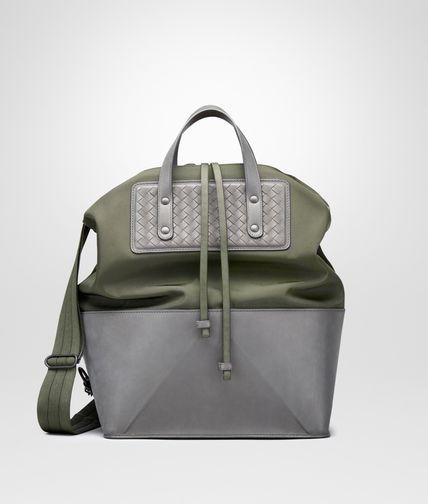 军士绿和浅灰色帆布小牛皮拼接编织购物袋