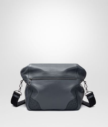 MESSENGER BAG IN ARDOISE NAPPA WITH OSTRICH DETAILS