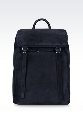 Armani Backpacks Men runway backpack in suede