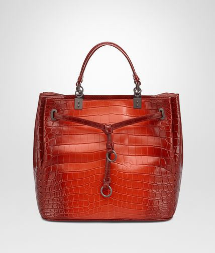 BUCKET BAG IN DARK VESUVIO CROCODILE WITH AYERS DETAILS