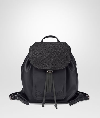 BACKPACK IN TOURMALINE NAPPA AND ARDOISE OSTRICH