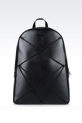 Armani Backpacks Men runway backpack in smooth calfskin and mesh