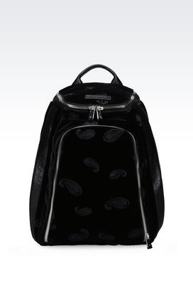 Armani Backpacks Men runway backpack in embroidered velvet and sheepskin