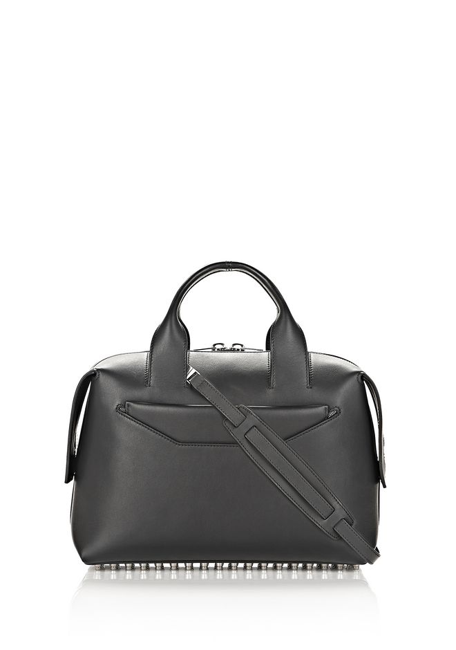 PRISMA DRAWSTRING HOBO IN BLACK WITH RHODIUM