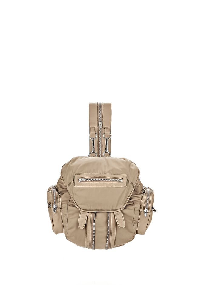 ALEXANDER WANG BACKPACKS MINI MARTI IN KHAKI LEATHER AND NYLON WITH RHODIUM
