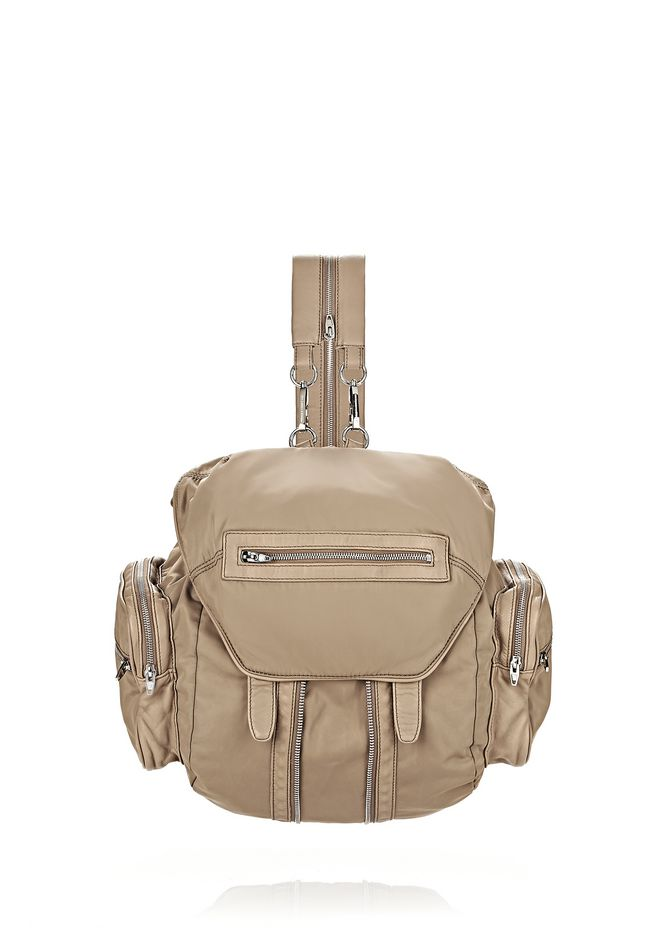 ALEXANDER WANG BACKPACKS MARTI IN KHAKI LEATHER AND NYLON WITH RHODIUM