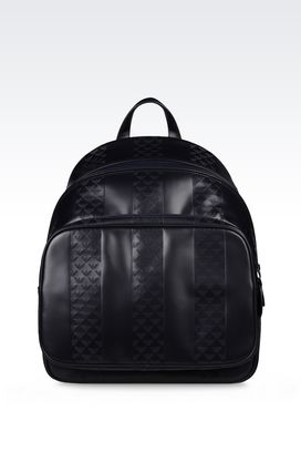 Armani Backpacks Men backpack in logo patterned calfskin