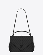 CLASSIC Large collège MONOGRAM SAINT LAURENT BAG IN Black MATELASSÉ LEATHER