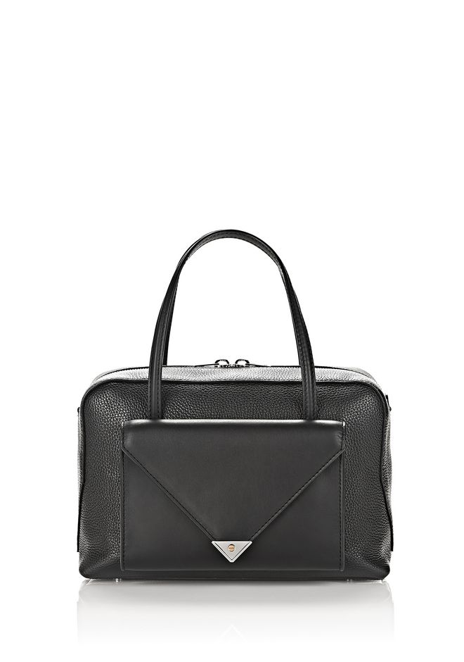 ALEXANDER WANG TOTES PRISMA POCKET DUFFLE IN PEBBLED BLACK WITH RHODIUM
