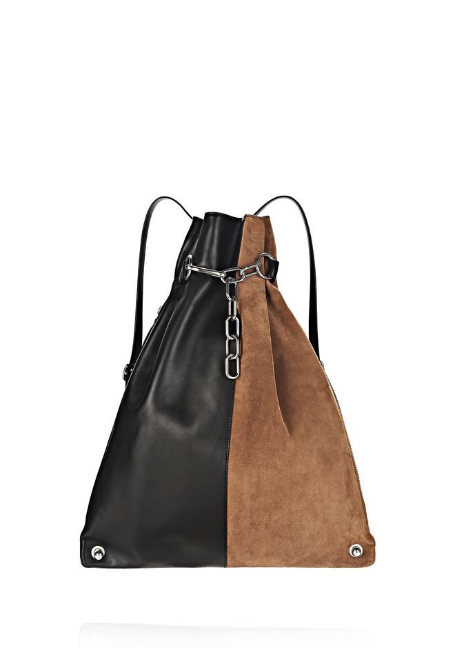 ALEXANDER WANG new-arrivals-bags-woman ATTICA CHAIN GYMSACK IN SUEDE COMBO WITH RHODIUM