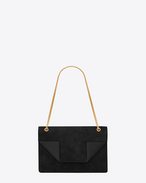 Classic Medium Betty Bag In Black Suede and Leather