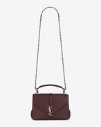 CLASSIC Medium COLLèGE MONOGRAM SAINT LAURENT BAG IN Bordeaux MATELASSÉ LEATHER