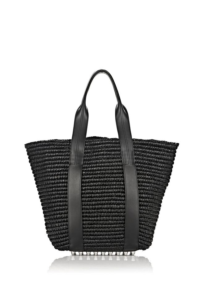ALEXANDER WANG TOTES RAFFIA PANIER TOTE IN BLACK WITH RHODIUM