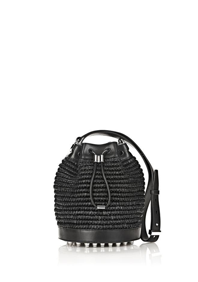 ALEXANDER WANG Shoulder bags RAFFIA BUCKET IN BLACK WITH RHODIUM