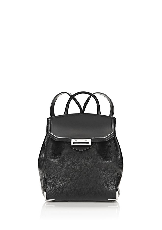 ALEXANDER WANG BACKPACKS Women PRISMA MINI BACKPACK IN PEBBLED BLACK WITH RHODIUM