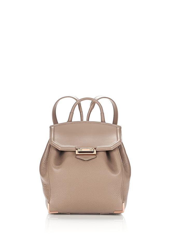 ALEXANDER WANG BACKPACKS Women PRISMA MINI BACKPACK IN PEBBLED LATTE WITH ROSE GOLD