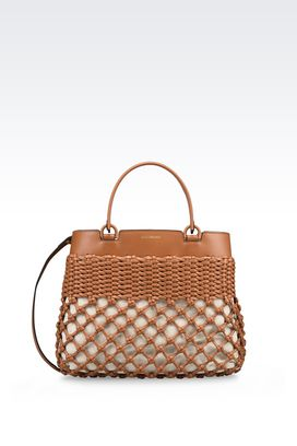 Armani Shoppers Women runway tote bag in woven calfskin