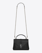 Classic Medium MONOGRAM SAINT LAURENT COLLÈGE Bag IN BLACK CROCODILE EMBOSSED LEATHER