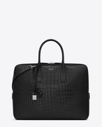 classic small museum briefcase in black crocodile embossed leather