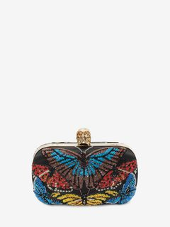 Beaded Butterfly Embroidered Classic Chain Clutch