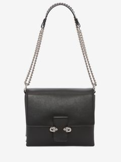 Calf Leather Twin Skull Chain Satchel