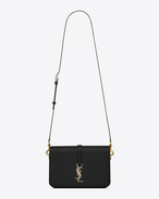 sac medium université monogramme saint laurent en cuir noir