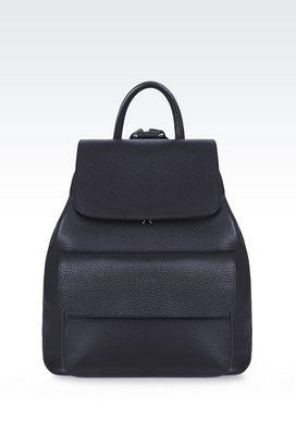 Armani Backpacks Men backpack in tumbled calfskin
