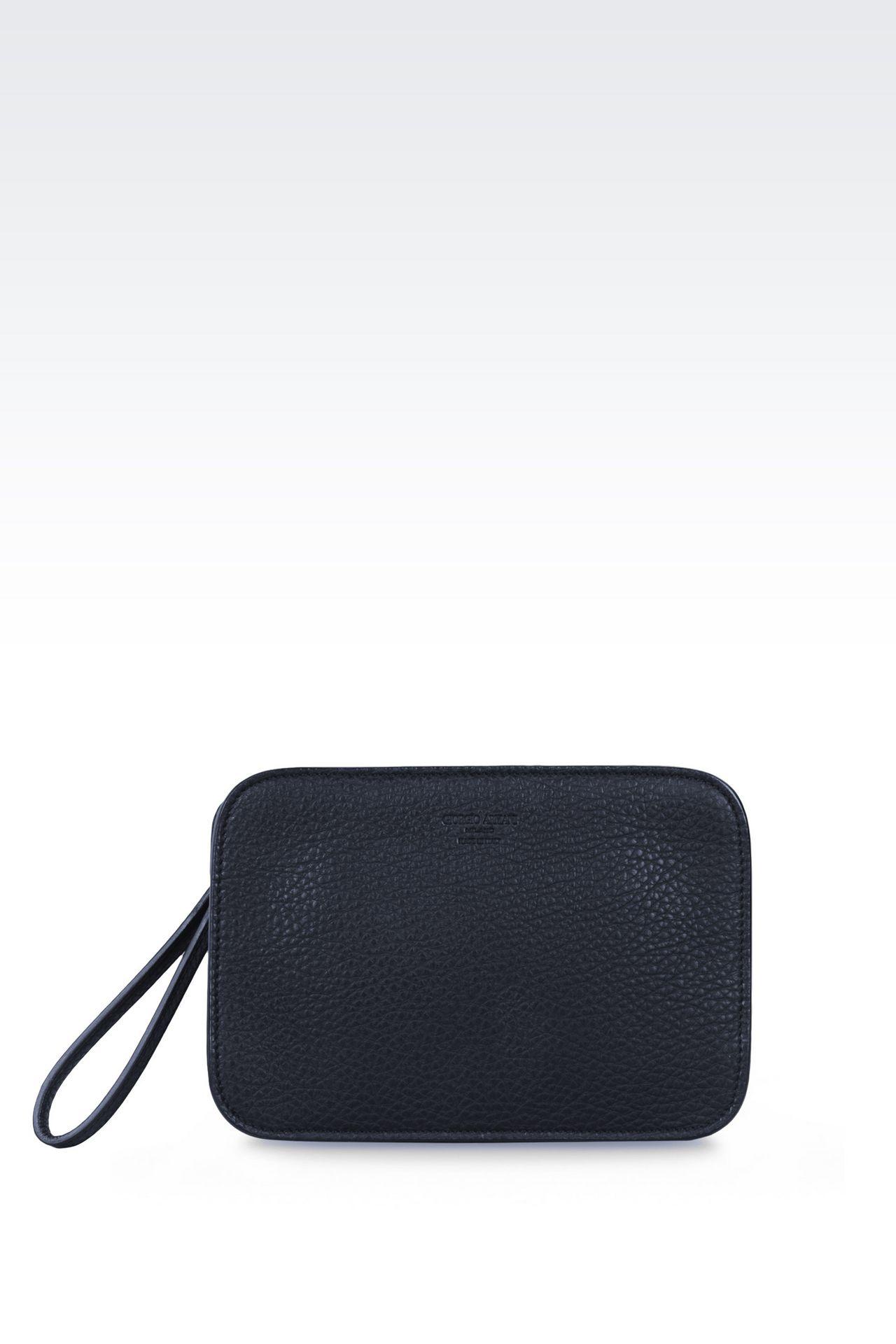 タンブルドカーフスキン製のマネーバッグです: マネーバッグ メンズ by Armani - 0