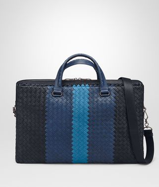 BRIEFCASE IN NEW DARK NAVY PACIFIC PEACOCK INTRECCIATO CLUB LAMB LEATHER