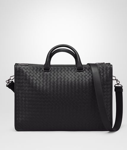 BRIEFCASE IN NERO INTRECCIATO CALF
