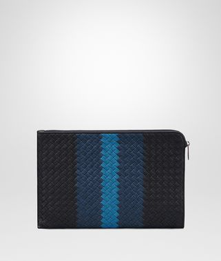 DOCUMENT CASE IN NEW DARK NAVY PACIFIC PEACOCK INTRECCIATO CLUB LAMB LEATHER