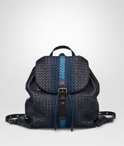 Porte-documents Bottega Veneta en cuir intrecciato bleu