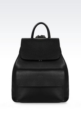 Armani Backpacks Men backpack in tumbled calfskin