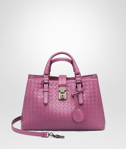 SMALL ROMA BAG IN PEONY INTRECCIATO CALF