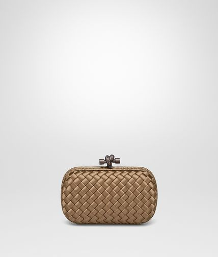 KNOT CLUTCH IN CAMEL NEW INTRECCIO IMPERO WITH AYERS DETAILS