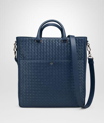 海洋蓝编织皮革购物袋