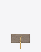 Classic KATE MONOGRAM SAINT LAURENT Tassel Clutch in Gold and Silver Metallic Woven Cotton and Polyester