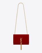 Satchel medium KATE à pompon MONOGRAMME en velours rouge