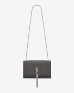 Classic Medium KATE MONOGRAM SAINT LAURENT Tassel Satchel in Dark Anthracite Crocodile Embossed Leather